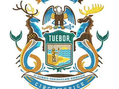 Michigan State Crest elk deer deep sea diver crest michigan