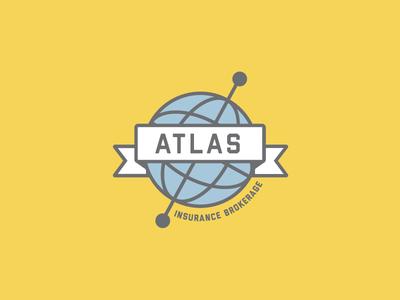 Atlas Insurance Brokerage lockup logo concept atlas flat design logo