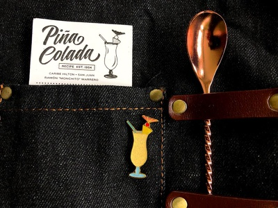 Pina Colada Pin Back with Recipe mixology cocktails screenprint illustration recipe card puerto rico hurricane maria blockout studios lush life mover  shaker co enamel pin piña colada