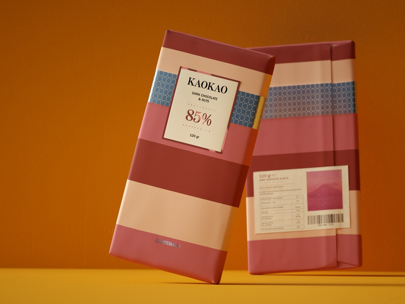 KaoKao - Guatemala No.2 labeldesign texture pack label texture pattern foodpackaging foil behance packaging design illustration design chocolate branding brand identity