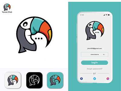 Toucan chat app icon design. lettermark unused business icon brand identity app branding modern app icon chat icon toucan chat
