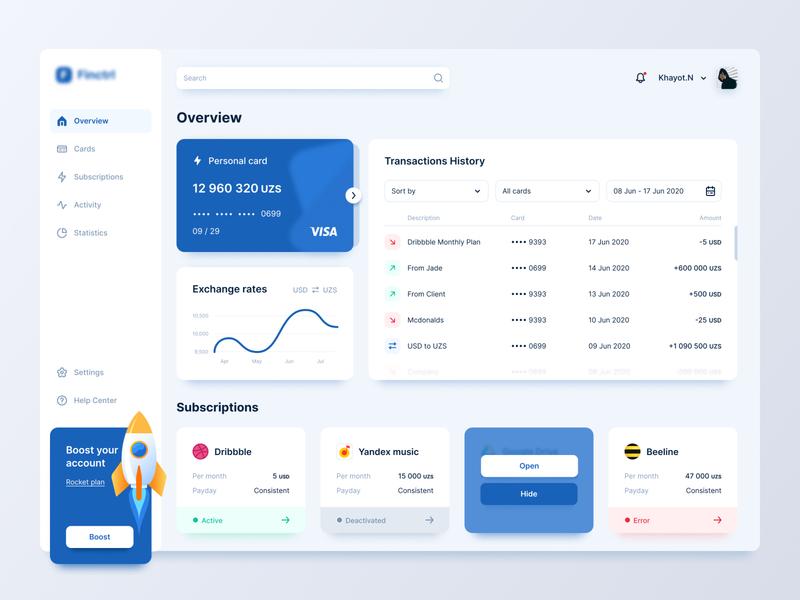 Finance Dashboard Concept mobile bank dashboard ui balance credit cards banking app web app bank ui finance dashboard money transfers bank dashboard online bank interface design figma