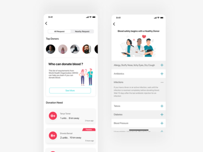 Blood Donation App gamification ux design ios app cards cards ui faqs health app healthcare blood donation product design