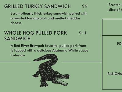 Menu Components *rawr* barbecue bbq cajun bayou swamp alligator vintage qr code menu illustration gator
