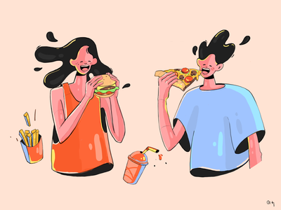 Yummy ! 🍔🍕😋 hungry colors yummy pizza burger foodillustration design graphicdesign caracter design illustration dribbble