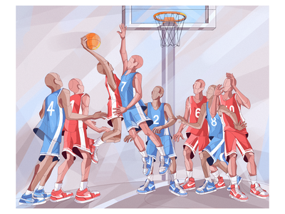 Basketball Players 🏀 graphicdesign characterdesign illustration design dribbble graphic design