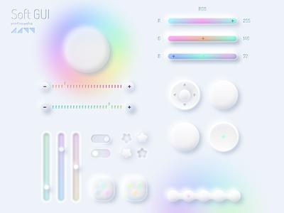 Free Neumorphic GUI Unicorn Style :unicorn: / UI design mobile figma 2020 trends modern style new subtle delicate soft rainbow minimalist minimal unicorn skeuomorphism skeuomorphic skeuomorph neumorph neumorphic neumorphism