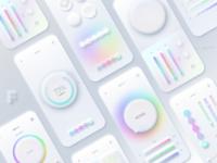 Neumorphic new trend rainbow UI design 🌈🦄 new minimalist neumorph figma soft design neumorphic neumorphism mobile ui