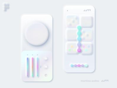 Neumorphic UI design style neumorph minimalist unicorn rainbow figma soft neumorphic design neumorphism mobile ui