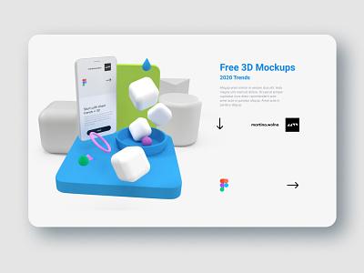 3D models + flat UI - download freebies 2020 trend figma download design ui soft freebies scene sphere shape illustration render moedeling model 3d