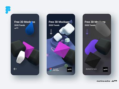 3D models in UI design - 2020 trends rendering 2020 trend freebies download free shapes 3d 4d cinema4d 3dsmax 3ds minimalist soft figma design mobile ui