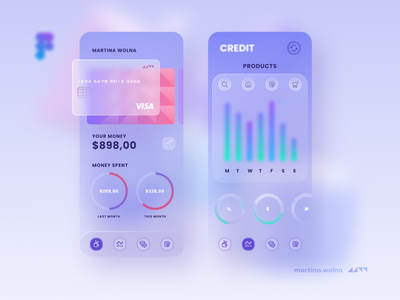 Glassmorphism bank app creditcard glassmorphism glass neumorphic minimalist soft figma mobile design ui