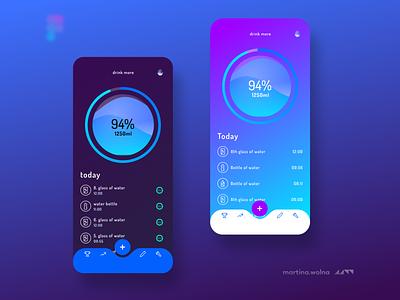 DrinkMore app real darkmode dark violet figma design mobile ui