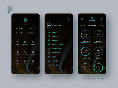 Buddy In Tour app. blue darkmode mode theme dark figma design mobile ui