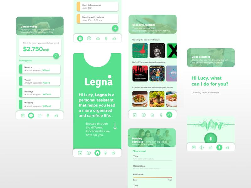 Legna - Personal Assistant user inteface interaction design personal assistant branding ux ui design app