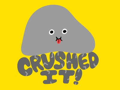 Crushed It Snapchat Sticker heavy stone rock character illustration face vector stickers sticker snapchat kimberly mar illustration