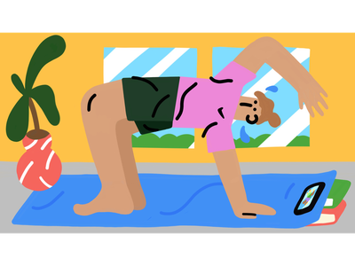 Dude Exercising nike air stretching yoga character illustration character design nike illustration