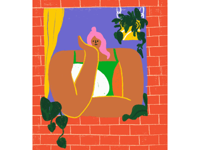 Friday Night shelter in place covid-19 bored pink hair character illustration face kimberly mar illustration