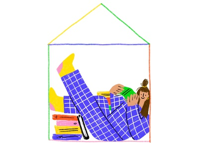 Reading house inside procreate sketch books character illustration face character design illustration reading