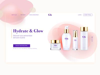 Daily UI Challenge 003 - Landing Page beauty glow skincare webdesign landingpage ui uidesign dailyui 003 ecommerce dailyuichallenge