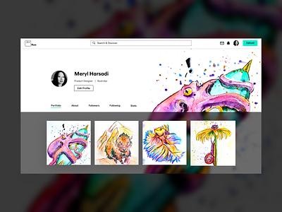 Daily UI Challenge  006 watercolor portfolio site webdesign user profile dailyui 006 dailyui dailyuichallenge