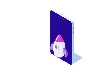 Rocket and Phone Animation vector animation design