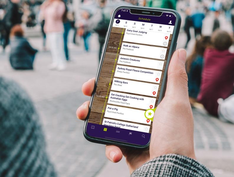 Sydney Royal Easter Show - Schedule ux app ui design