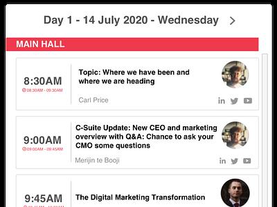 Features - Live Agenda - Virtual Conference ui website design