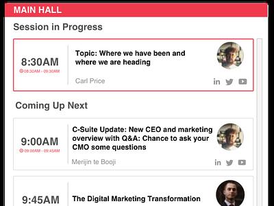 Features - Individual Agenda - Virtual Conference website ui design