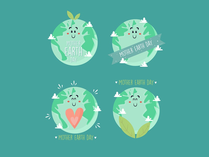 mother earth day badges collection