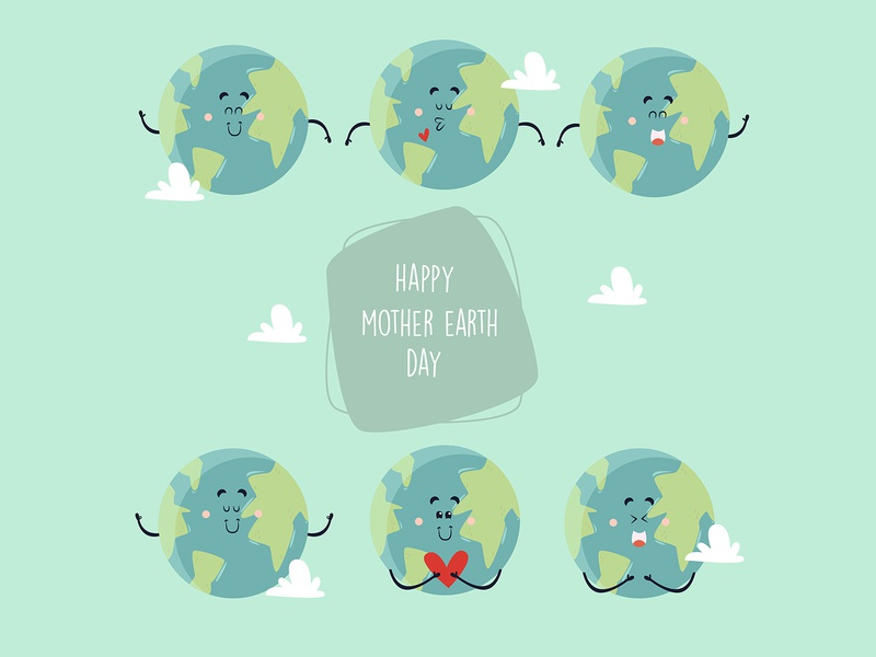 mother earth day cute characters set