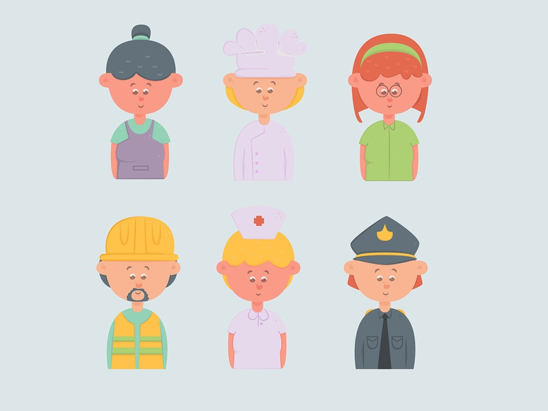 avatars cartoon cute set flat design job cartoon character person people avatar