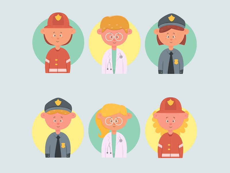 workers avatars children pack flat design cartoon children avatar job worker