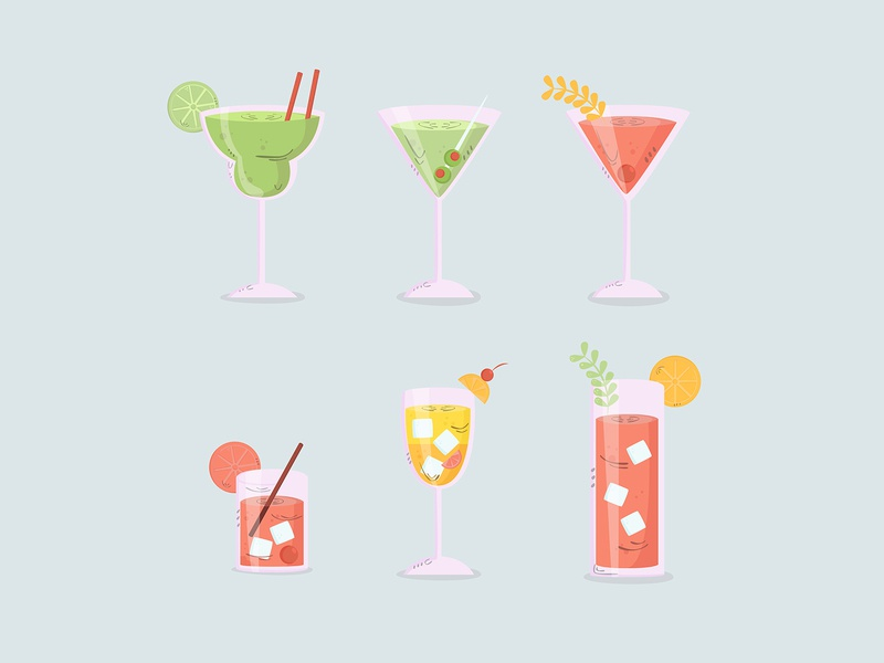 cocktail hand drawn collection flat design cold hand drawn cartoon drink cocktail