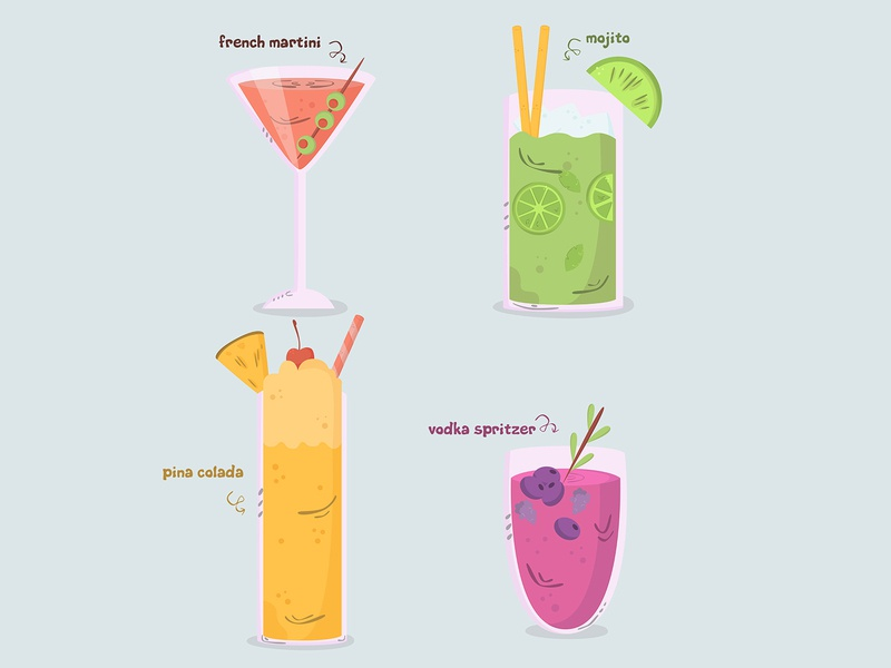cocktail hand drawn collection flat design (2) cold hand drawn cartoon drink cocktail