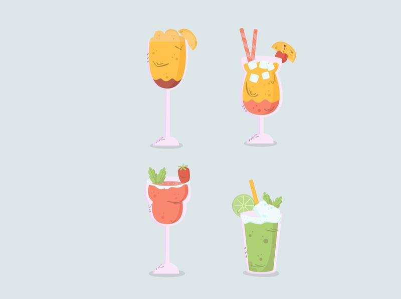 drinks hand drawn collection flat design (3) glass cold hand drawn cartoon drink