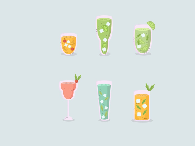 drinks hand drawn collection flat design (4) glass cold hand drawn cartoon drink