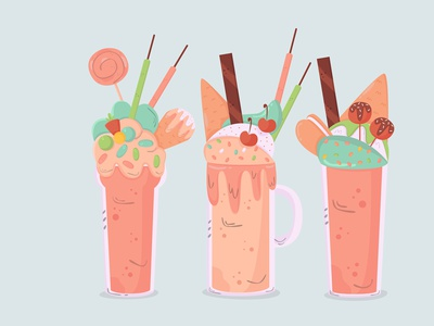 shakes drinks collection flat design cold cartoon hand drawn drink shake