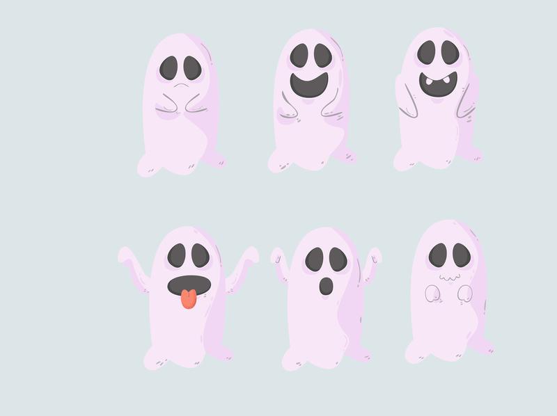 ghost halloween hand drawn flat design october cartoon character ghost halloween