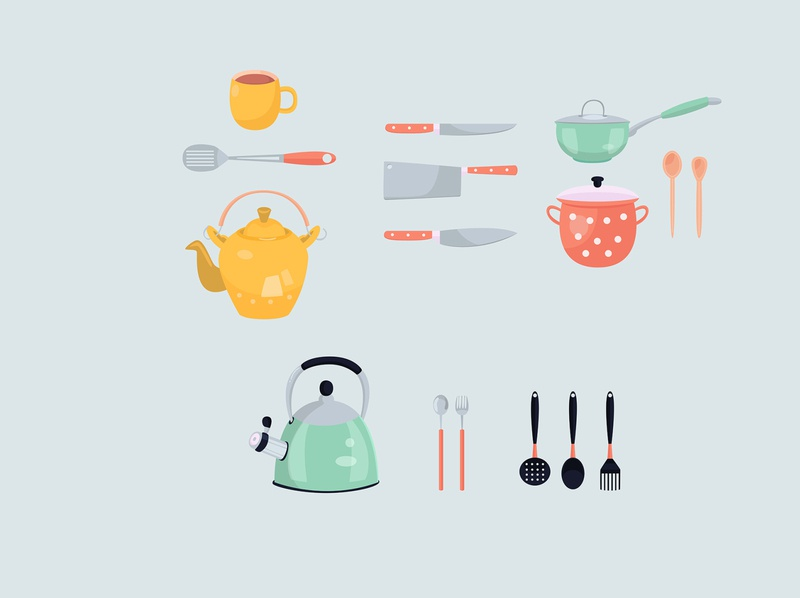 modern various kitchen tools icon set flat design cooking modern cartoon tool kitchen