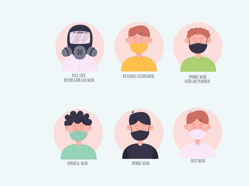 types face masks illustration flat design protection mask face type various