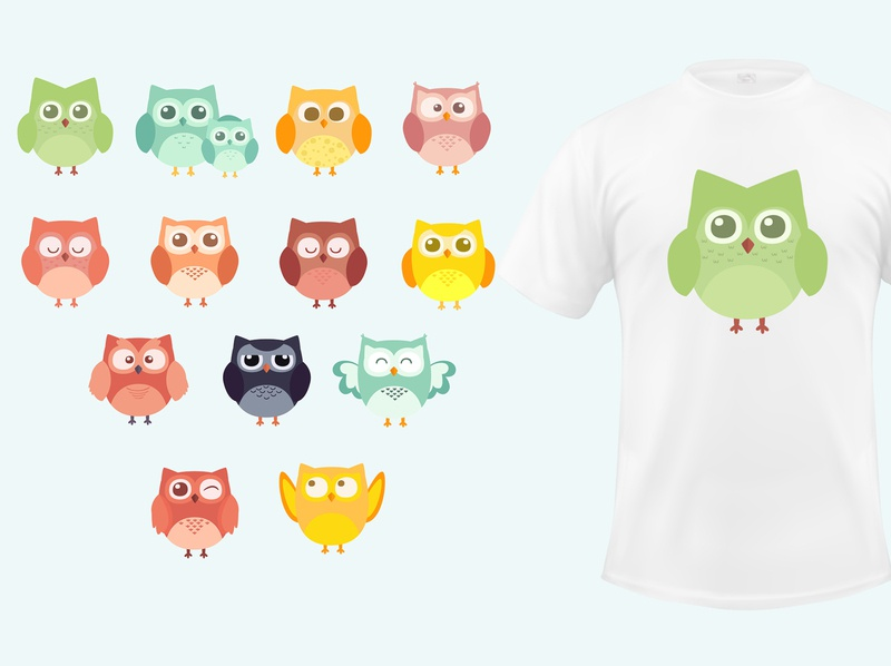 t shirt cartoon owls illustration collection flat design illustration animal owl cartoon shirt