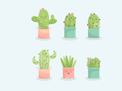 cactus hand drawn collection flat design potted plant printable clipart pattern illustration simple vector cute cactus