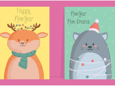 New Year Animals Poster cartoon template printable cat deer christmas december poster animal new year
