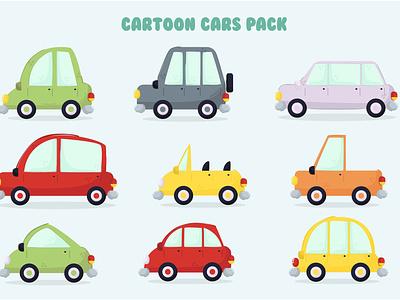 Cartoon Cars Illustration Pack small road flat colorful style vector transportation illustration car cartoon