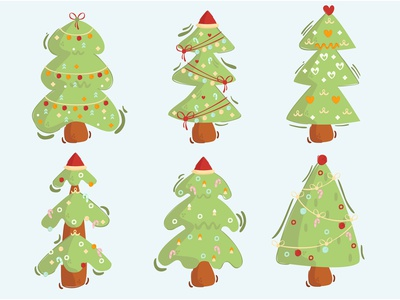 Christmas Tree Illustration Pack cartoon vector merry green beautiful decorated clipart illustration tree christmas