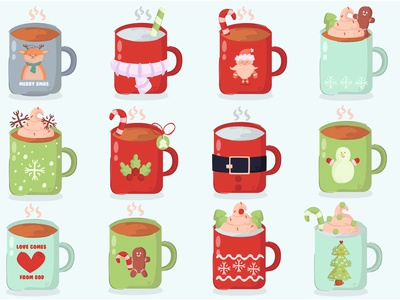 Christmas Mug Decoration Cartoon Illustration ceramic coffee december merry vector illustration cartoon decoration mug christmas