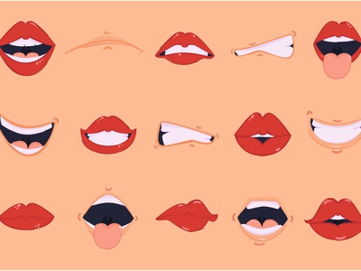 Cartoon Mouth Illustration Pack woman clipart emotion sexy lip red vector illustration mouth cartoon