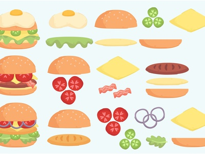 Burger Ingredient Illustration Set cheese bread delicious food vector cartoon recipe illustration ingredient burger