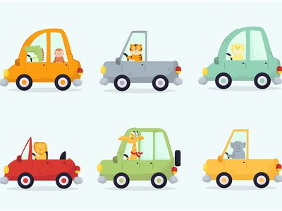 Cars with Animal Driver Cartoon Transposrtation cute vector road wildlife illustration transportation cartoon driver animal car
